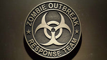 zombie outbreak response team plaque brass finish