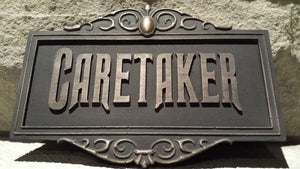 Disney Prop Haunted Mansion Attraction Caretaker Plaque Sign