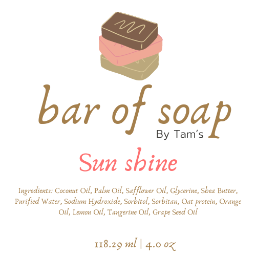 Sunshine Soap Bar - Tam's Natural Solutions