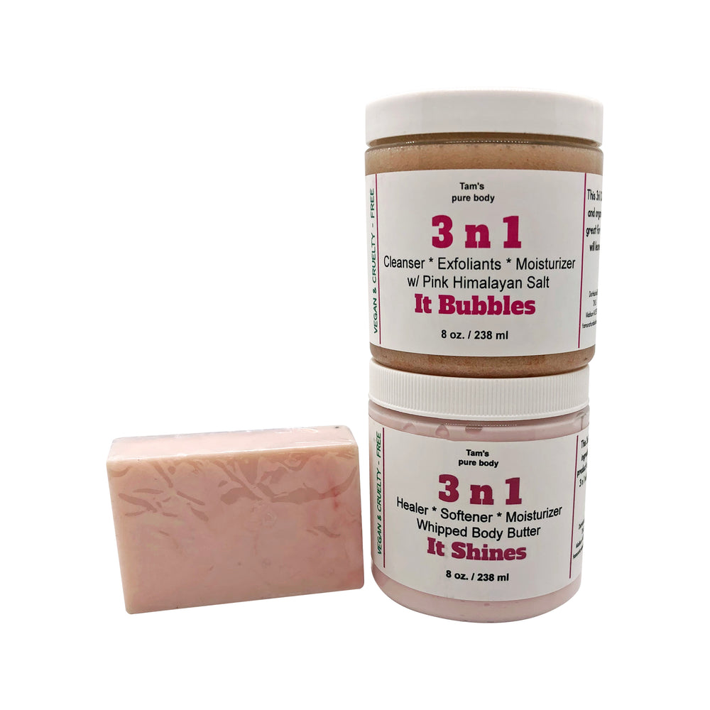 3 n 1 Kit (Clean, Exfoliate, and Moisturizer) - Tam's Natural Solutions