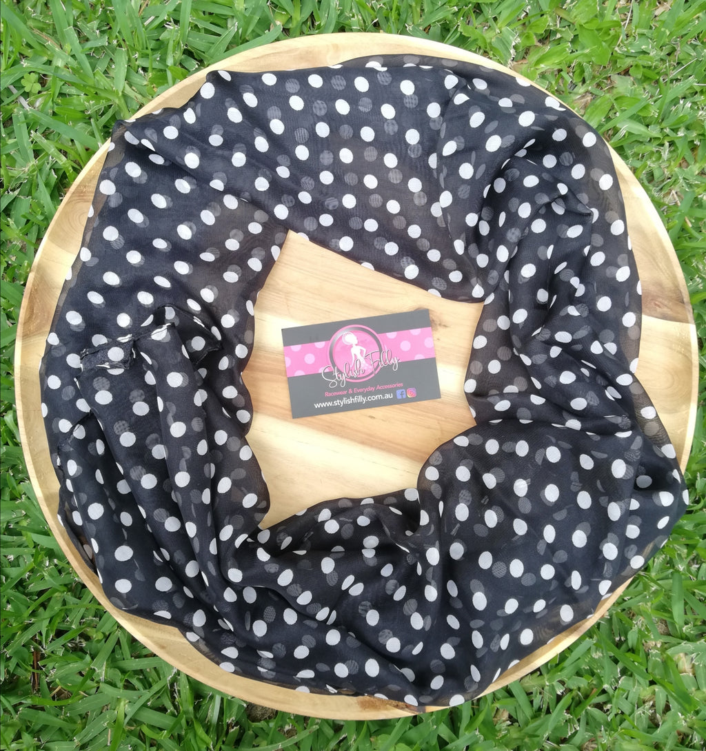 BLACK & WHITE POLKA DOT HEADSCARF