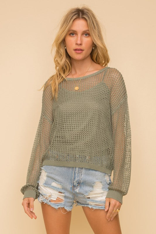 Olive Open Crochet Sweater with Brami