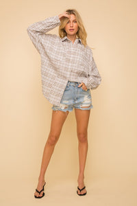 Plaid Oversized Shirt with Lace