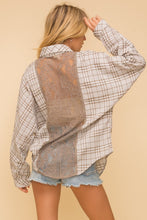 Load image into Gallery viewer, Plaid Oversized Shirt with Lace
