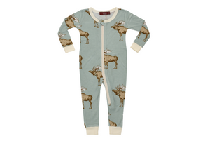 Zipper Pajama Blue Moose 3-4Y