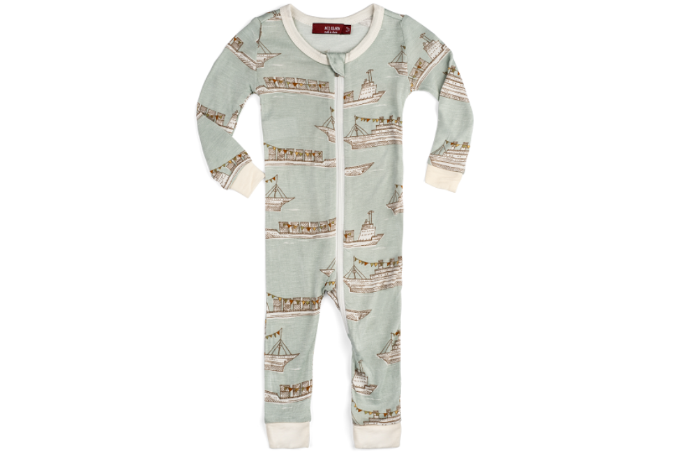 Zipper Pajama Blue Ships 2-3Y