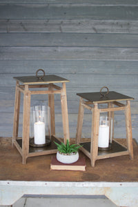 Metal & Wood Lantern - Tall