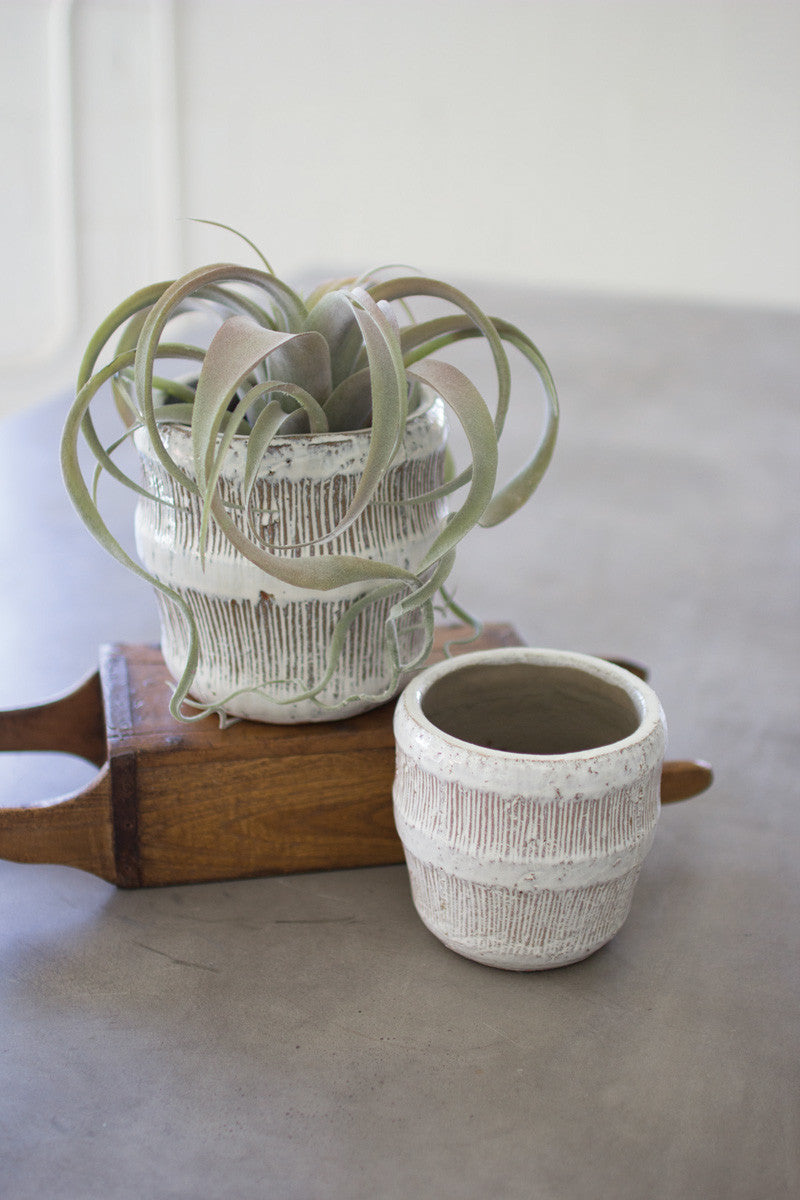 ceramic cream flower pots- LG