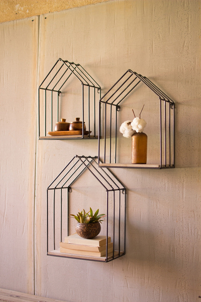 set of 3 wood and metal house shelves-SM