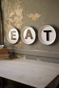 "White & Black Tin ""EAT"" Sign"