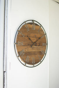 Wooden Wall Clock w/ Metal Frame