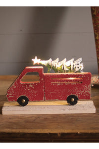 Red Truck with Tree and Battery Lights
