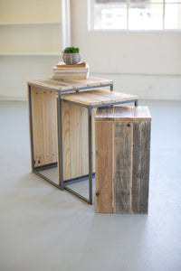 Recycled Wood & Metal Waterfall Side Tables LG