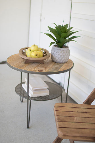 Recycled Wood Round Side Table w/ Perforated Metal Shelf