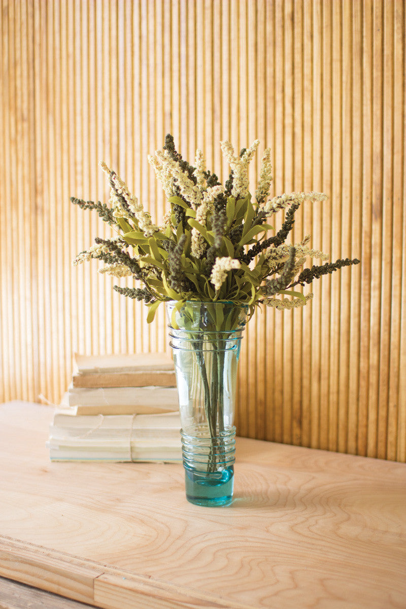 clear recycled glass vase with lines