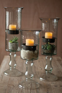 Glass Candle Cyl w/ Metal Insert & Glass Base - LG