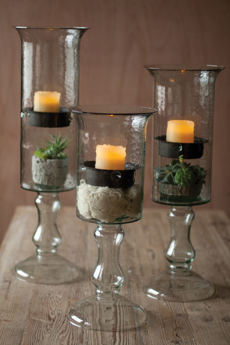 glass candle cylinder with metal insert & glass base-SM