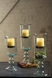 Mini Glass Candle Cyl w/ Metal Insert & Glass Base - MD