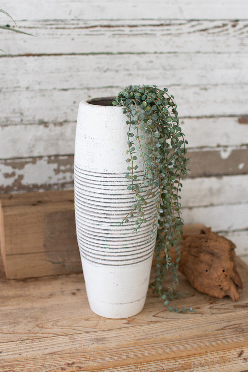 Oblong Clay Vase w/ Ribbed Detail - White