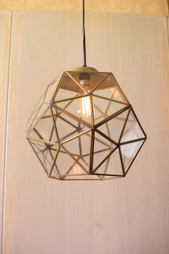 glass and antique gold metal faceted pendant