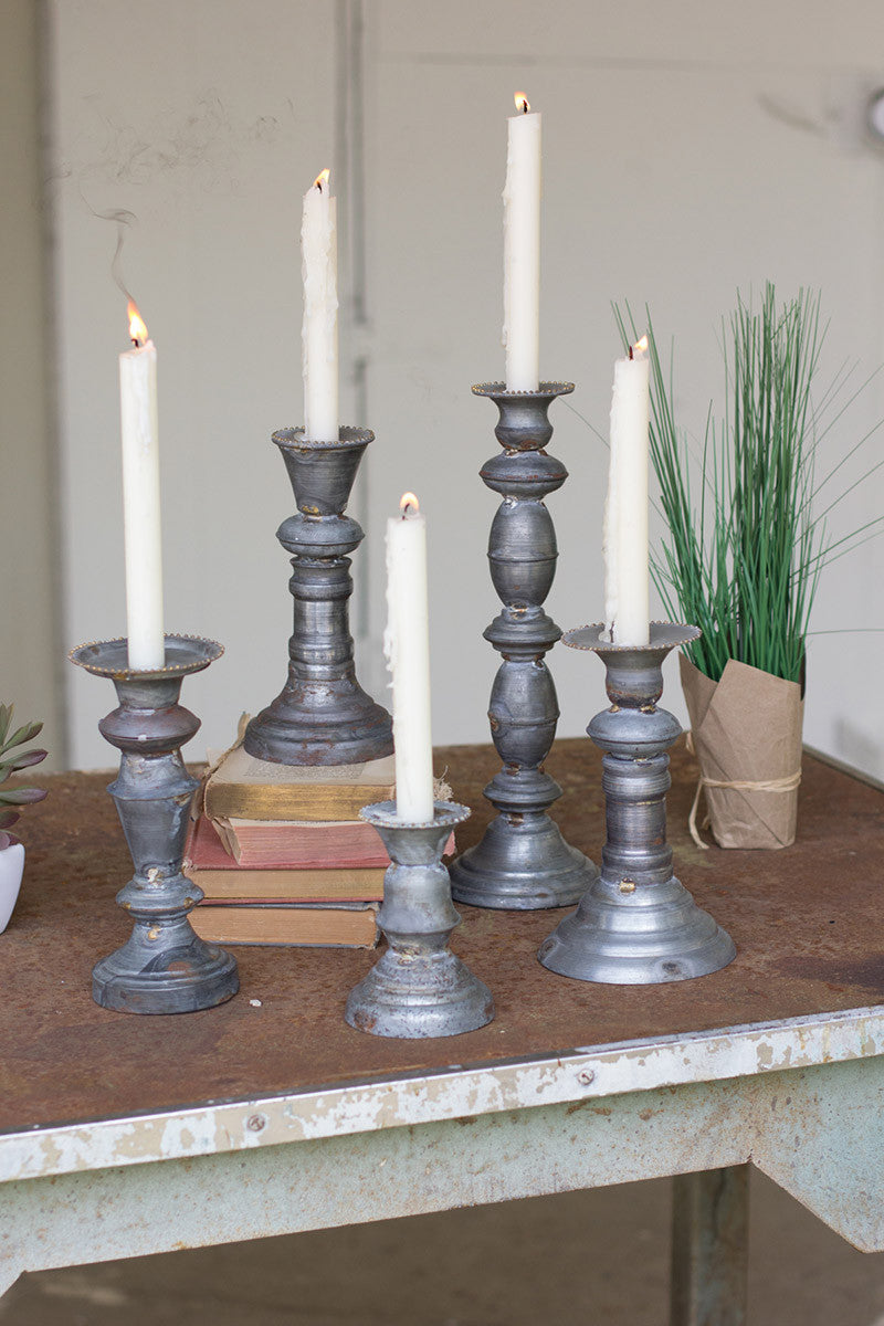set of 5 zinc candle holders with brass detail- SM