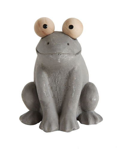 Cement Frog w/ Wooden Eyes