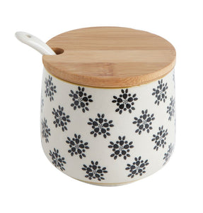 Hand Stamped Stoneware Jar W/ Bamboo Lid and Spoon, Floral Pattern