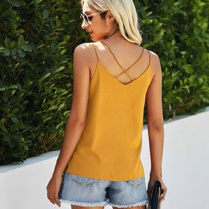 Yellow Rhinestone Tank Top