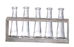 "12-1/2""L Vase Holder W/ 5 Glass Vases, Distressed Grey Fin"