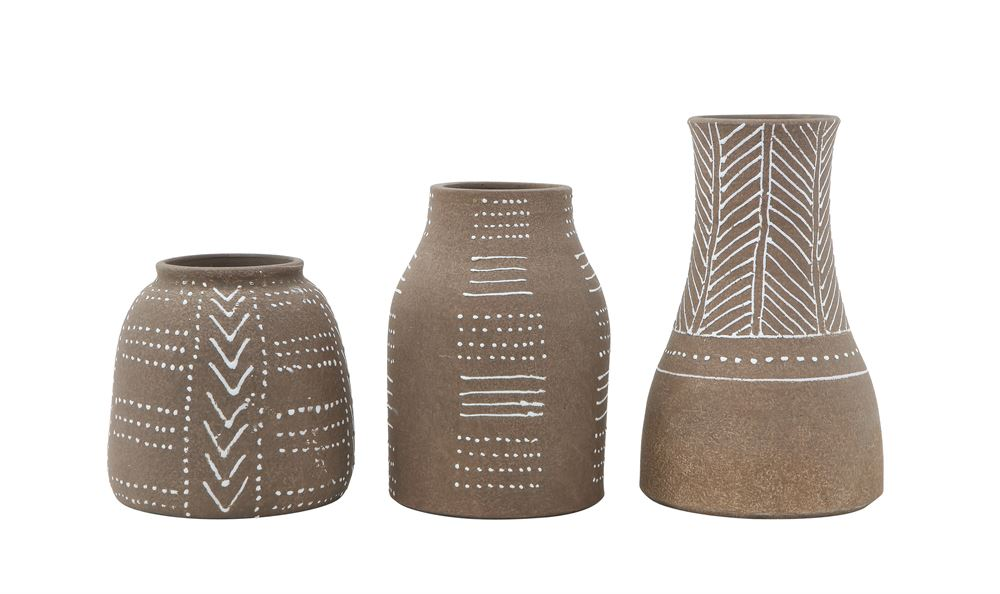 Brown and White Aztec Vase Wide