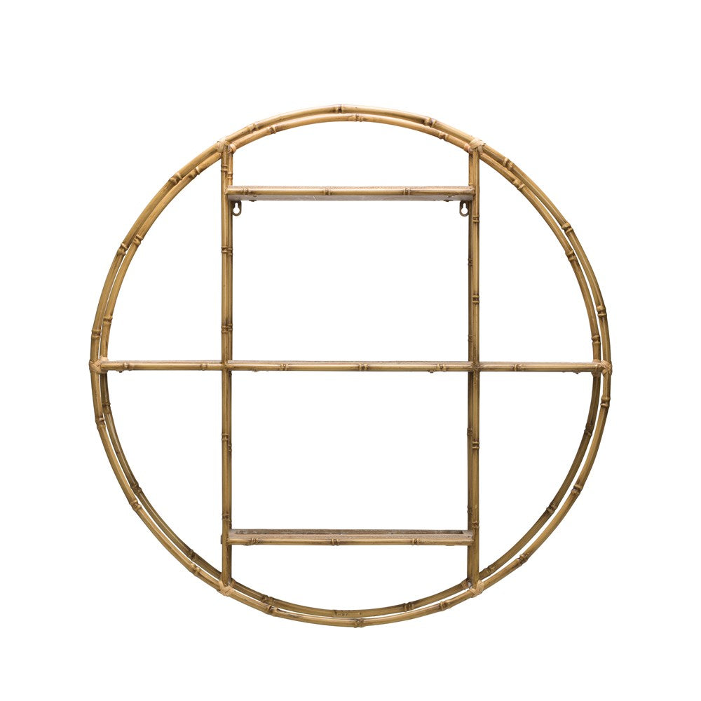 Round Bamboo Wall Shelf