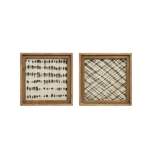 Square Wood Framed Handmade Paper Wall Decor, 2 Styles