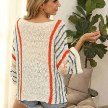 Load image into Gallery viewer, Orange and Blue Stripe Sweater