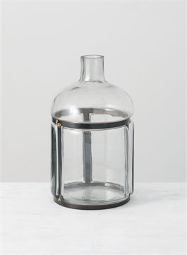 Glass and Metal Bar Bottle