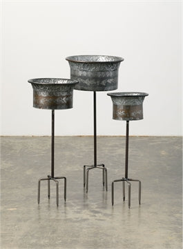 Metal Flower Buckets with Stakes SM
