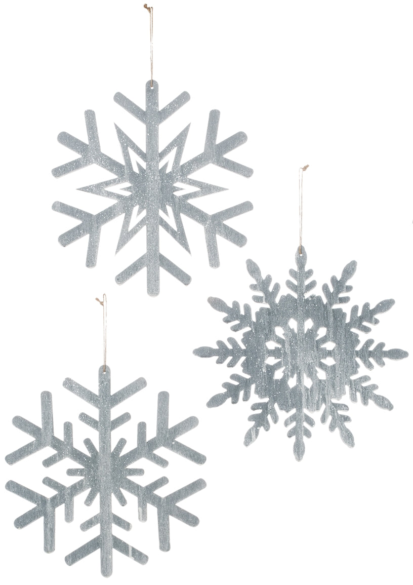 Assortment Large Grey Snowflake Ornament
