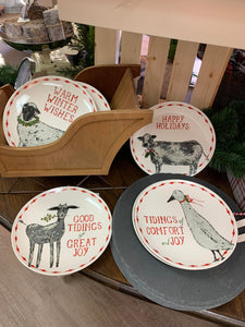Holiday Farm Animal Plate