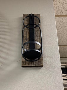 Black & Wood Metal Sconce