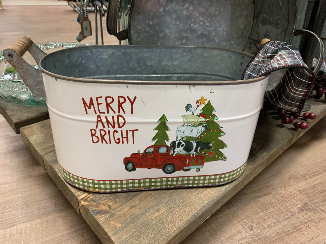 Large Christmas Tin Buckets