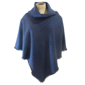 Navy Blue Salt & Pepper Donegal Tweed Poncho