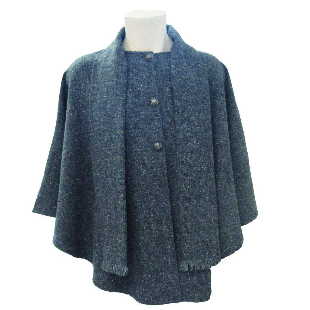 Charcoal Donegal Tweed Cape