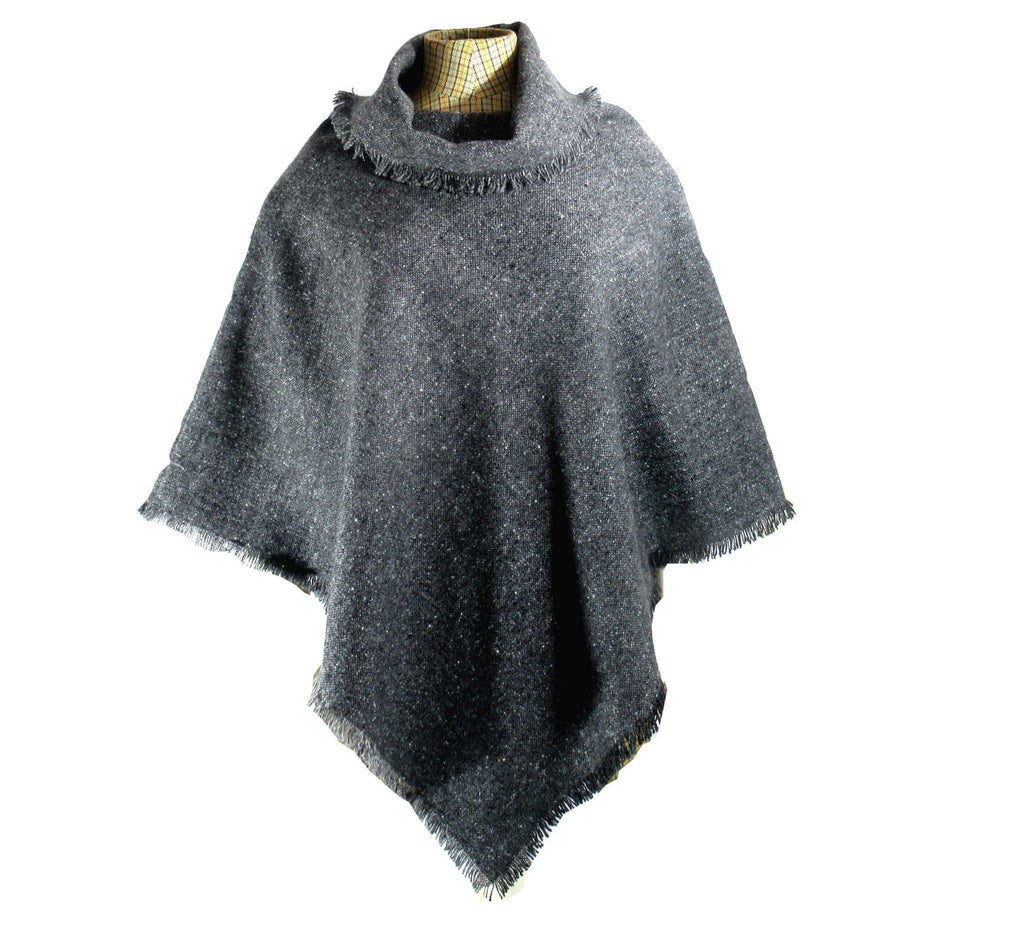 Charcoal Salt & Pepper Donegal Tweed Poncho