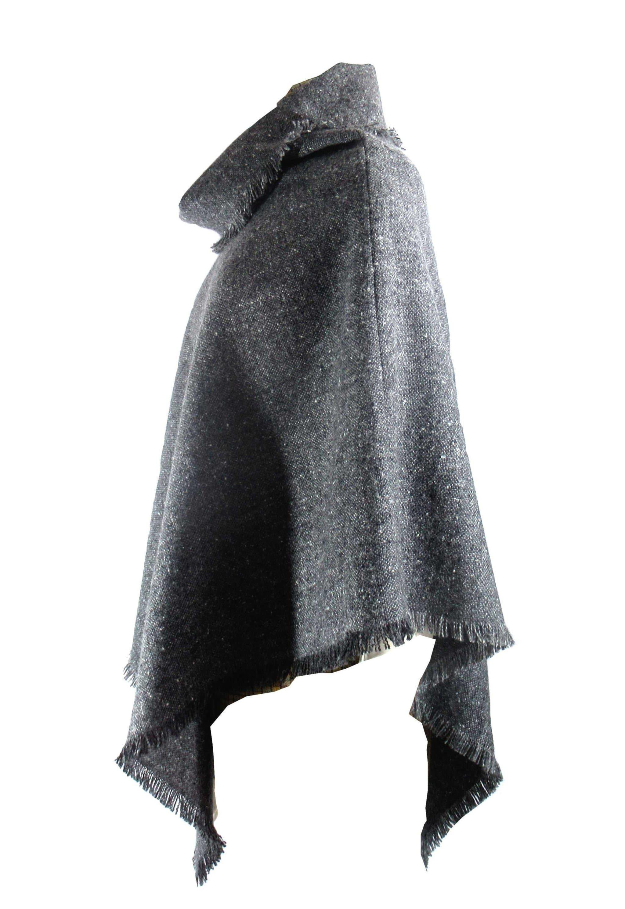 Charcoal Donegal Tweed Poncho Poncho Tweed.ie