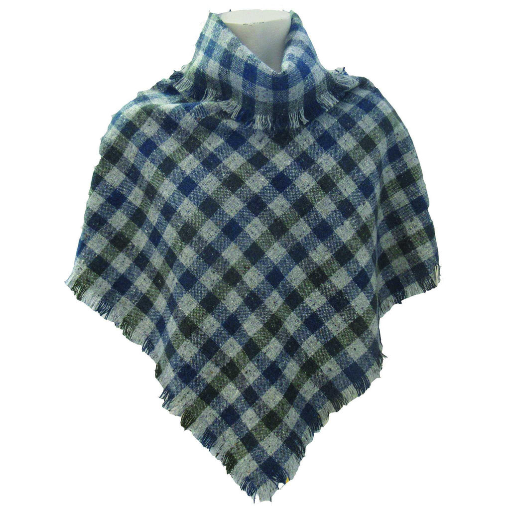Hata Signature Check Donegal Tweed Poncho
