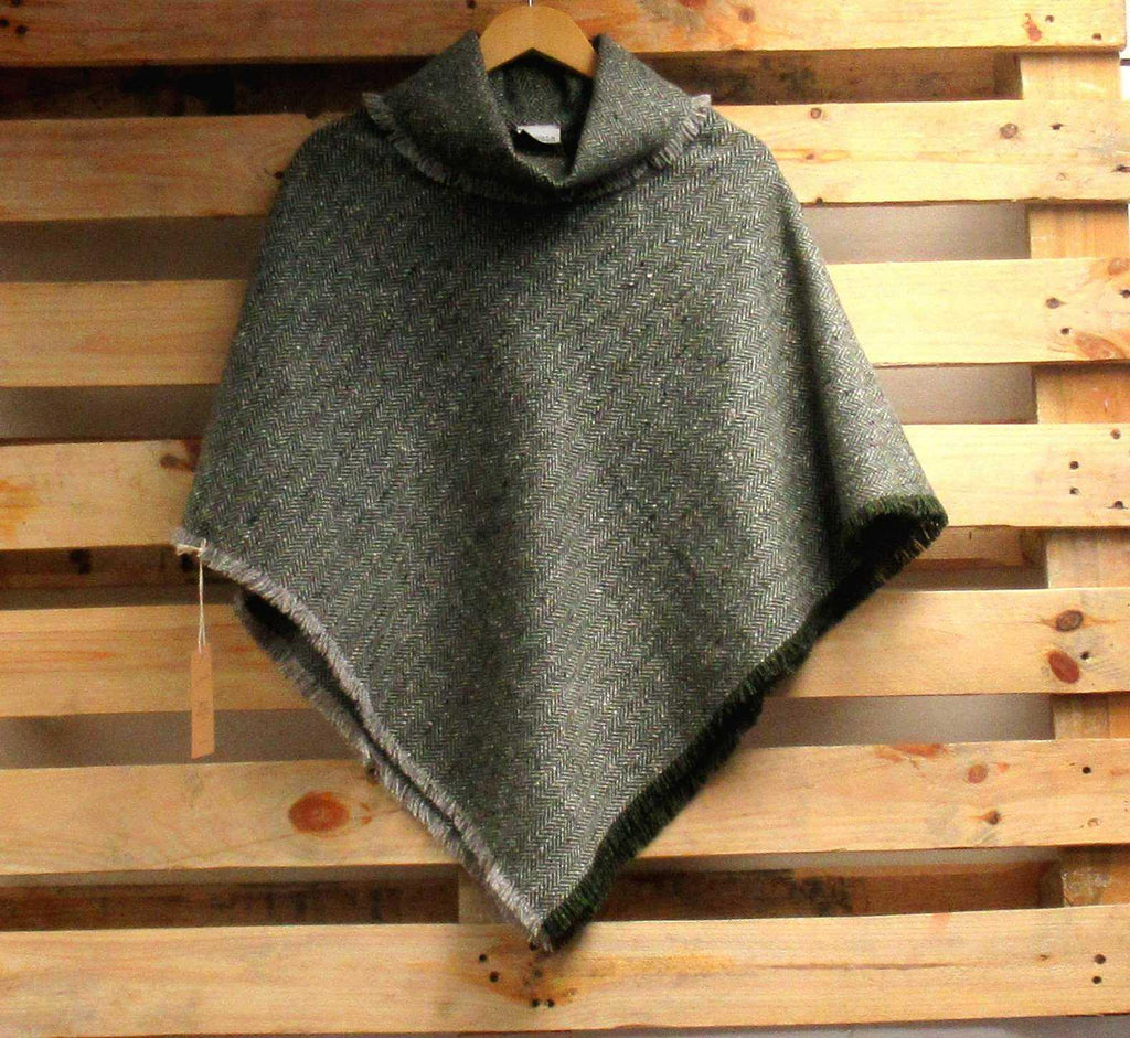 Green Herringbone Donegal Tweed Poncho | Tweed.ie