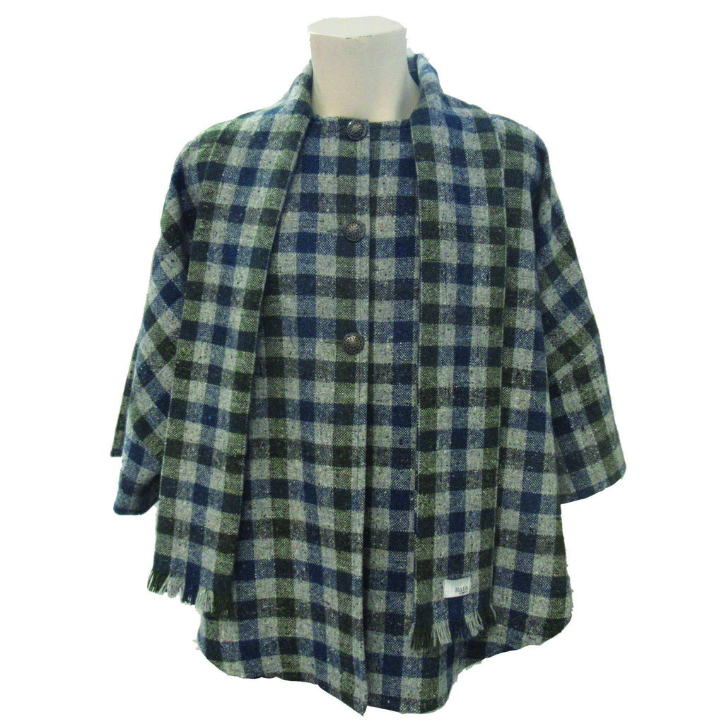Hata Signature Check Donegal Tweed Cape