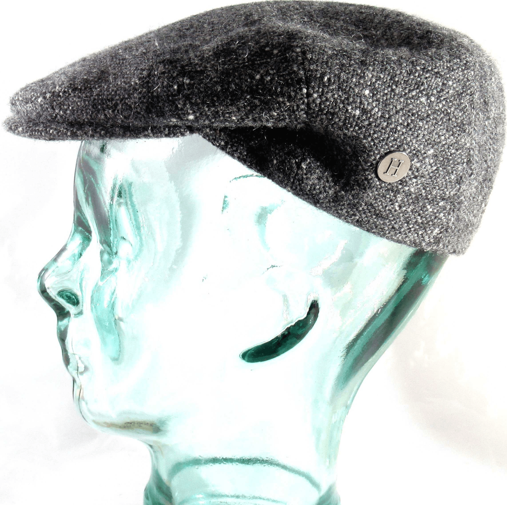 Charcoal Donegal Tweed  cap