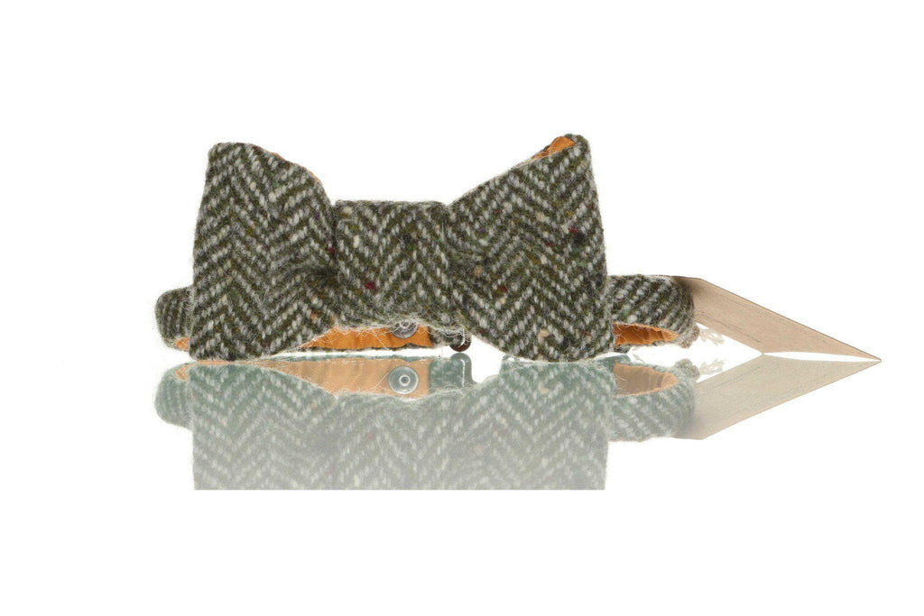 Green Herringbone Donegal Tweed Bow Tie | Tweed.ie