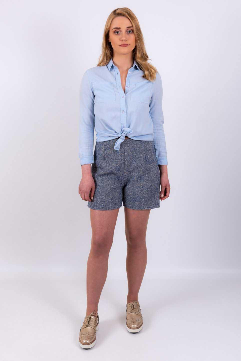 Blue Merino & Mohair Salt & Pepper Tweed Shorts | Tweed.ie