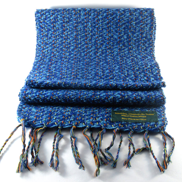Handwoven light blue Donegal Tweed Scarf Tweed Scarf Tweed.ie